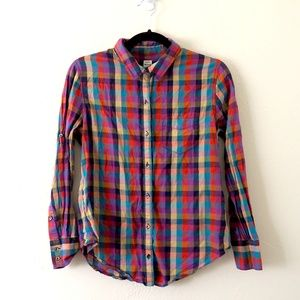 Madewell Multi-color Checkered Plaid Button Up